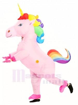 Aufblasbar Süß Regenbogen-Einhorn für Erwachsene Sprengen Maskottchen Kostüm