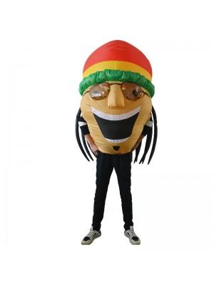 jamaikanisch Sänger Aufblasbar Kostüm Halloween Weihnachten Schick Schlag oben Passen zum Erwachsene Gelb Haut