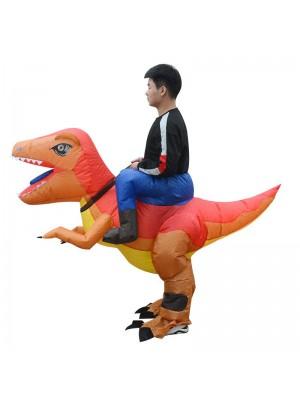 Orange und Gelb Velociraptor Dinosaurier Tragen mich Reiten auf Aufblasbar Kostüm zum Erwachsene