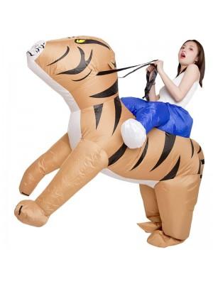 Tiger Tragen Mir Reiten auf Aufblasbar Kostüm Halloween Weihnachten Kostüm zum Erwachsene