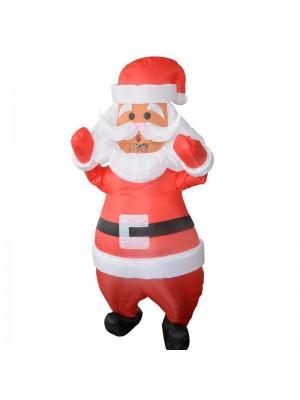 Santa Claus mit Weiß Gürtel Aufblasbar Kostüm Halloween Weihnachten Kostüm zum Erwachsene