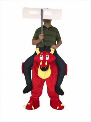Huckepack rot Feuer Drachen Trage mich auf Maskottchen Kostüm
