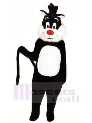 Schwarz Katze mit Lange Schwanz Maskottchen Kostüme Tier