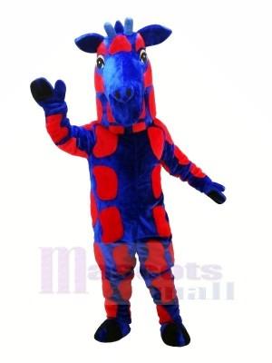 Blaues und rotes Giraffen-Maskottchen kostümiert Tier