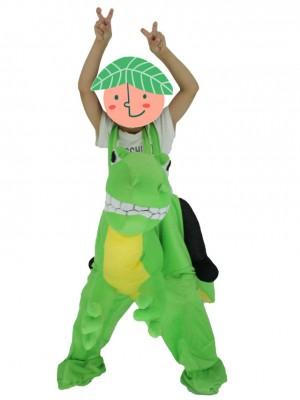 Für Kinder Huckepack tragen Sie mich auf gelben Bauch Grünes Drachen Maskottchen Kostüm