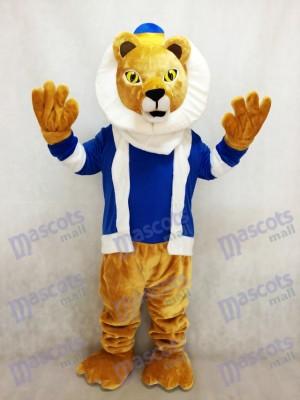 Nettes König Lionel Löwe Maskottchen Kostüm mit blauen Kleidern und Krone