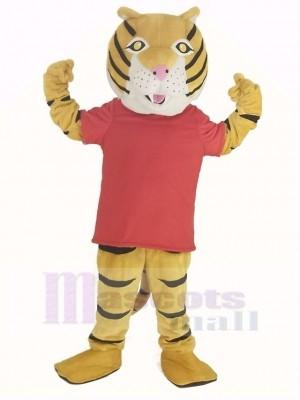 glücklich Tiger im rot T-Shirt Maskottchen Kostüm