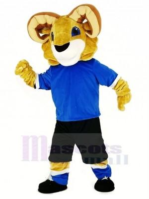 Sport RAM mit Blau T-Shirt Maskottchen Kostüm Hochschule