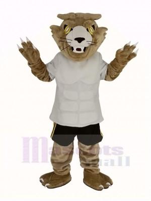 Heftig Wilde Katze im Weiß T-Shirt Maskottchen Kostüm