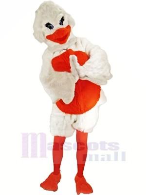 Pelzig Weiß und Orange Ente Maskottchen Kostüme Karikatur