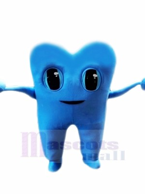 Blau Zahn Maskottchen Kostüm Karikatur