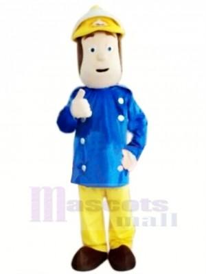 Mutig Feuerwehrmann Maskottchen Kostüm Karikatur