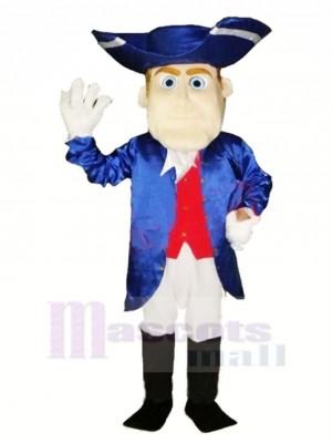 Freundlich Patriot im Blau Maskottchen Kostüm Menschen