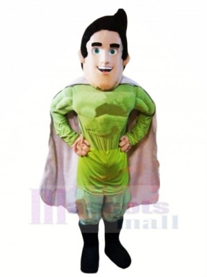 Übermensch Held im Grün Maskottchen Kostüm Karikatur