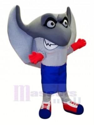 Niedlich Grau Stachelrochen Maskottchen Kostüm Karikatur