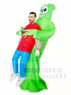 Grüner Dämon Schädel Tragen Sie mich Skeleton aufblasbare Halloween Weihnachts kostüme für Erwachsene