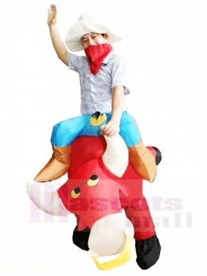 Cowboy Fahren auf rot Stier Aufblasbare Halloween Weihnachts kostüme für Erwachsene