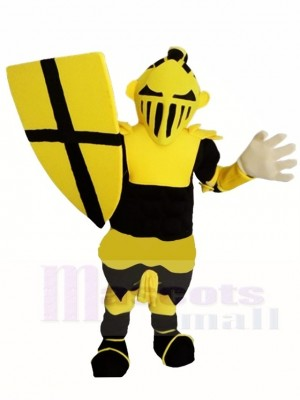 Schwarzer und gelber Ritter Krieger Maskottchen Kostüme Menschen