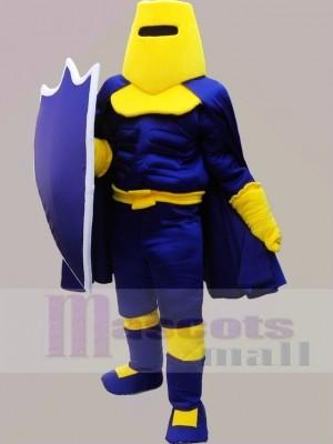 Blaue und gelbe Ritterkrieger Maskottchen Kostüme Menschen