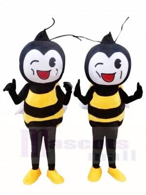 NUR EIN weißes Gesicht Gelbes Bienen Maskottchen Kostüm Insekt