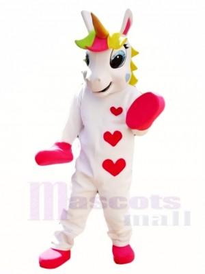 Weißes Einhorn mit Herzen und bunten Horn Maskottchen Kostümen