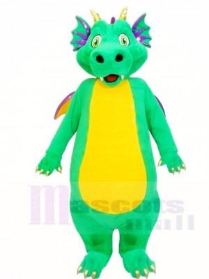 Grüner Drache mit gelben Bauch Maskottchen Kostüme