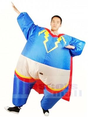 Fett Übermensch Superheld Cosplay mit rotem Mantel Aufblasbare Halloween Kostüme für Erwachsene