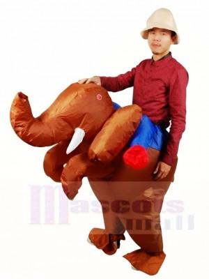 Fahren Sie auf braune Elefanten aufblasbare Halloween Weihnachts kostüme für Erwachsene