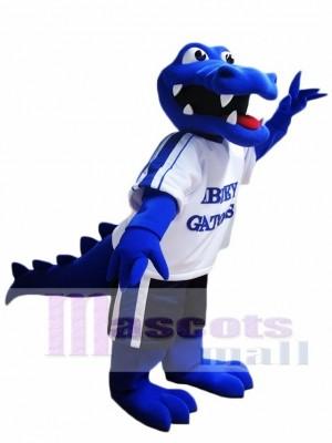 königlich Blau Krokodil Maskottchen Kostüm Alligator Maskottchen Kostüme mit weißem Hemd