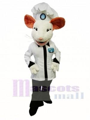 Alpina Mouse Maskottchen Kostüm Weiß Maus Cook Maskottchen Kostüm