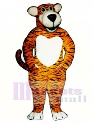 Nettes lächelndes Tiger Maskottchen Kostüm