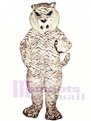 Nettes blauäugiges weißes Tiger Maskottchen Kostüm