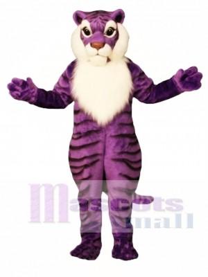 Niedliches lila Tiger Maskottchen Kostüm