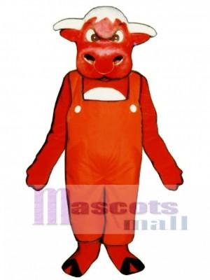 Wütender Stier mit Overalls Maskottchen Kostüm