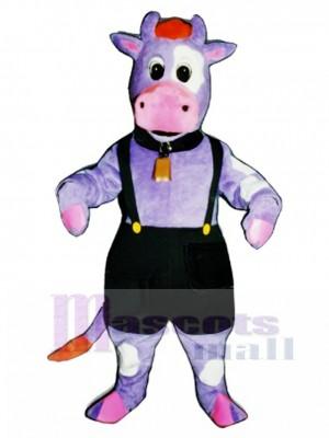 Süße lila Kuh mit Overalls und Bell Maskottchen Kostüm