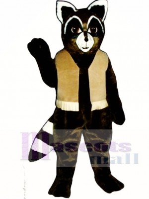 Ryan Waschbär mit Weste Maskottchen Kostüm Tier