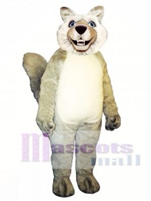 Nettes lächelndes Wolf Maskottchen Kostüm