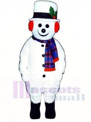 Jolly Schneemann mit Hut, Ohrenschützer & Schal Weihnachts Maskottchen Kostüm