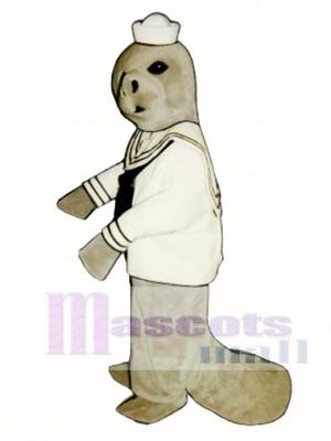 Niedliches Manatis mit Seemann Shirt & Hut Maskottchen Kostüm