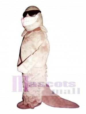 Süß lächelnd Lachs mit Sonnenbrille Maskottchen Kostüm Tier