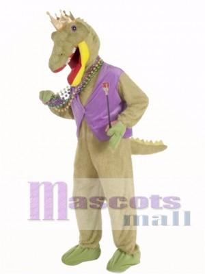 Mardi Gras Alligator König Maskottchen Kostüm Erwachsene