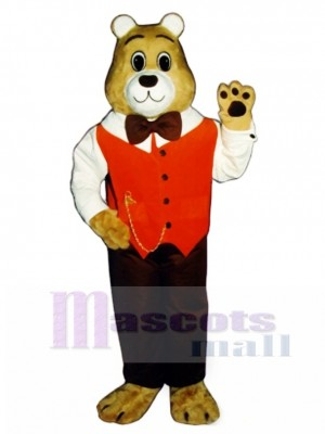 Cute Gentleman Bear Mascot Costume