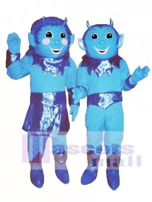 Junge Blau Devil (rechts) Maskottchen Kostüm