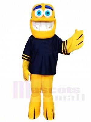 Gelbe Fisch Maskottchen Kostüme im schwarzen Hemd Meer