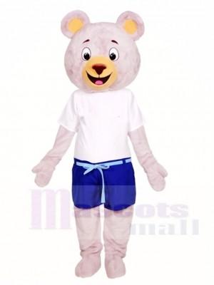 Grauer Bär in blauen Shorts Maskottchen Kostüme Tier