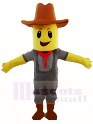 Blockhead Mais Getreide Cowboy Maskottchen Kostüm Leute