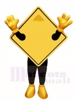 Gelber Guideboard Straßen Typenschild Maskottchen Kostüme