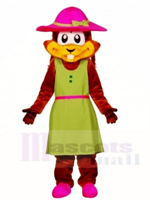 Chipmunk in einem grünen Kleid Maskottchen Kostüme Tier