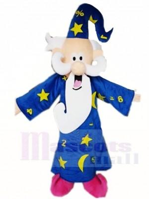 Blaues Mantel Zauberer Magier Maskottchen kostümiert Karikatur