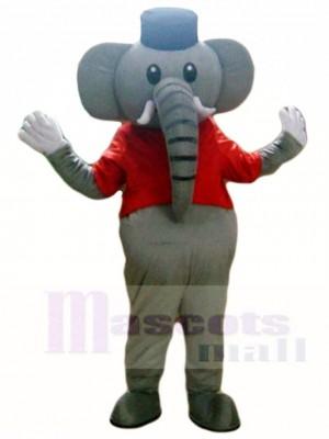 Grauer Elefant im roten Weste Maskottchen Kostüm Tier